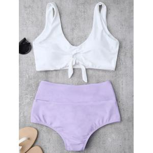High Waisted Ruched Bikini Set - Purple - Xl