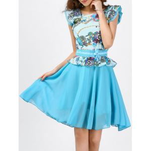 Printed Ruffle Chiffon Dress - Light Blue - S