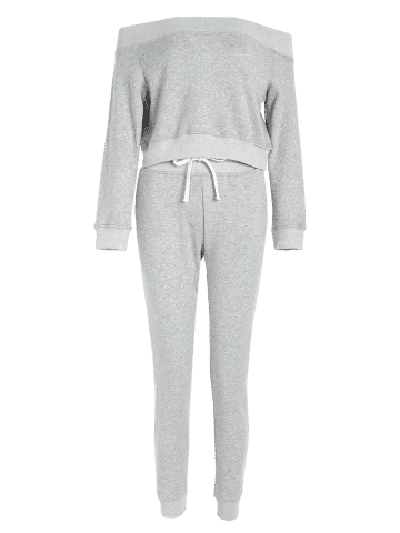 Fashion Off The Shoulder Sweatshirt With Pants Gym Outfits - L LIGHT GRAY Mobile