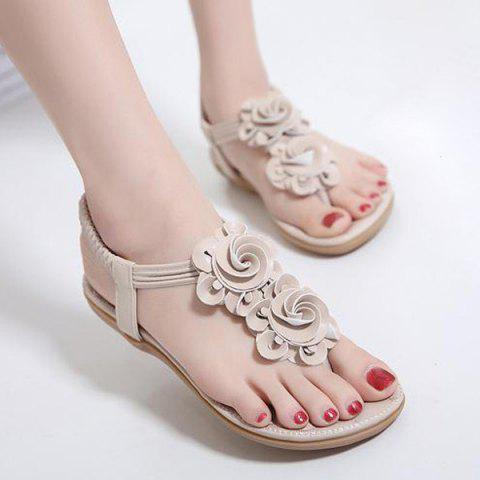 Elastic Band Flowers Sandals - Apricot - 38