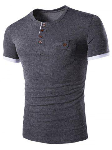 Cheap Pocket Design Button T Shirt