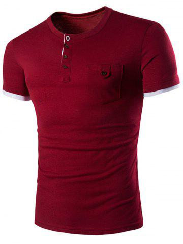 Fancy Pocket Design Button T Shirt WINE RED 2XL