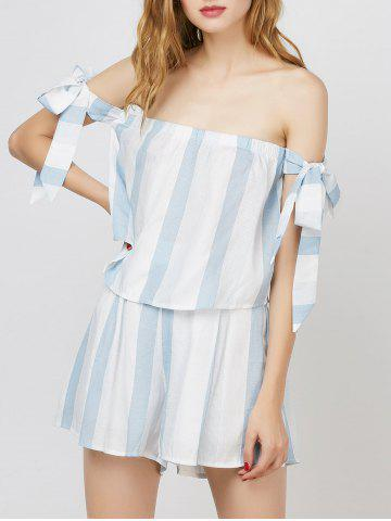Stripe Off The Shoulder Top With Shorts - ICE BLUE L