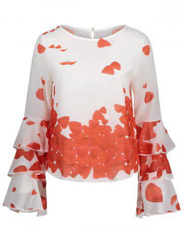 Bell Sleeve Layer Printed Blouse