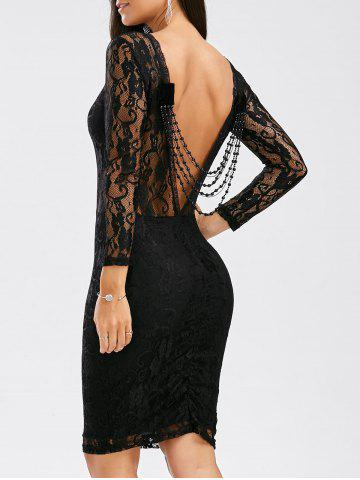 Best Sexy Long Sleeve Backless Slimming See-Through Dress