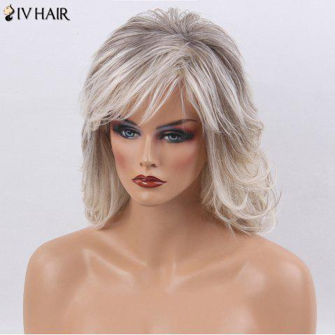 Trendy Siv Hair Side Bang Medium Shaggy Natural Straight Colormix Human Hair Wig