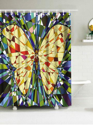 Fragment Insert Butterfly Print Waterproof Fabric Shower Curtain - Multicolor - W71 Inch * L71 Inch