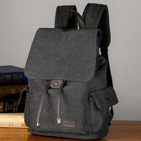 Shops Casual Side Pockets Canvas Backpack - BLACK  Mobile