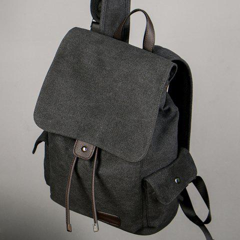 Discount Casual Side Pockets Canvas Backpack - BLACK  Mobile