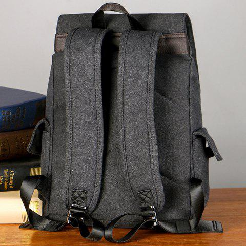Chic Casual Side Pockets Canvas Backpack - BLACK  Mobile