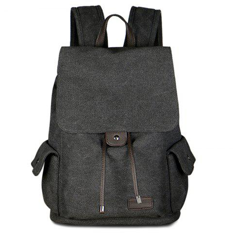 Store Casual Side Pockets Canvas Backpack - BLACK  Mobile