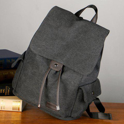 Outfit Casual Side Pockets Canvas Backpack - BLACK  Mobile