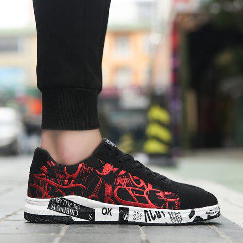 Fashion Tie Up Line Printed Casual Shoes - 40 BLACK AND RED Mobile