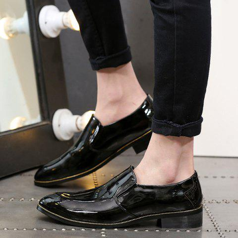 Outfit Patent Leather Pointed Toe Formal Shoes - 42 BLACK Mobile