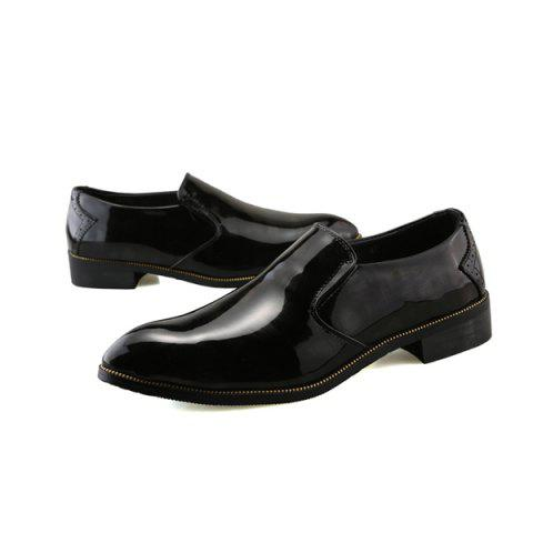 New Patent Leather Pointed Toe Formal Shoes - 42 BLACK Mobile