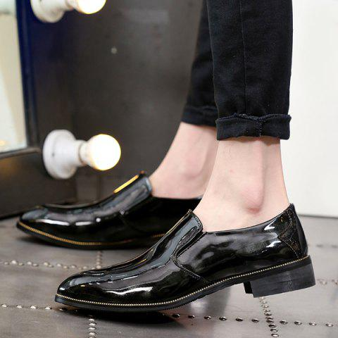 Latest Patent Leather Pointed Toe Formal Shoes - 42 BLACK Mobile