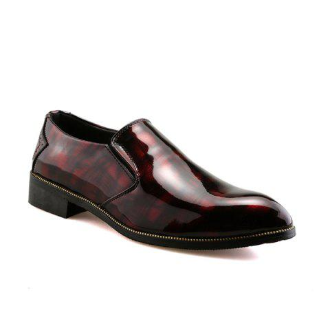 Patent Leather Pointed Toe Formal Shoes - Wine Red - 40