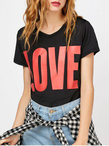 Fashion Love Pattern Graphic Top BLACK M