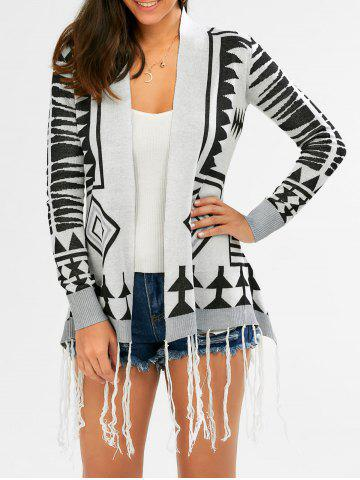 Outfits Fashionable Geometric Pattern Tassel Embellished Long Sleeve Cardigan For Women COLORMIX S