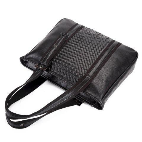 Outfits Woven Faux Leather Eyelets Tote Bag - BLACK  Mobile