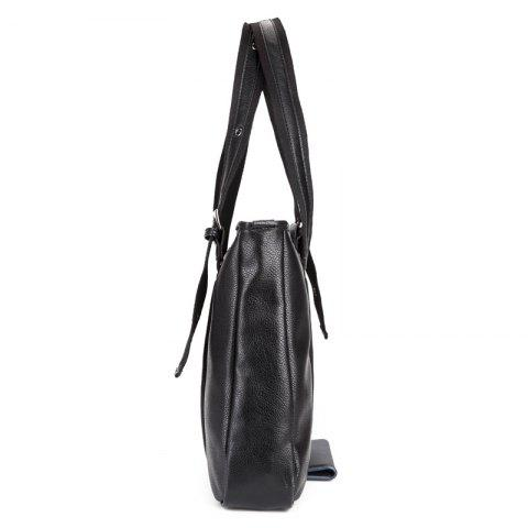 Sale Woven Faux Leather Eyelets Tote Bag - BLACK  Mobile