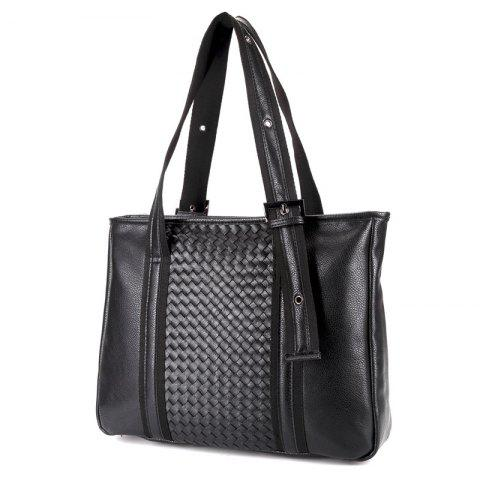Buy Woven Faux Leather Eyelets Tote Bag - BLACK  Mobile