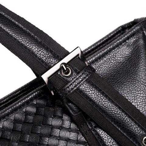 Best Woven Faux Leather Eyelets Tote Bag - BLACK  Mobile
