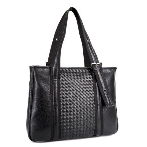 Chic Woven Faux Leather Eyelets Tote Bag - BLACK  Mobile