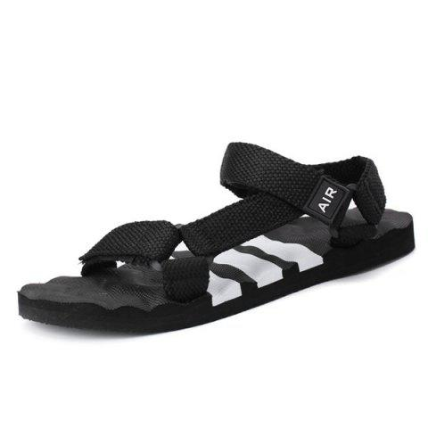 Affordable Plastic Striped Strappy Sandals - 42 WHITE AND BLACK Mobile