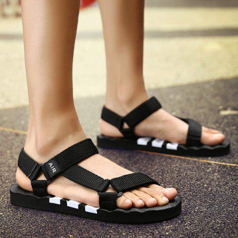 Online Plastic Striped Strappy Sandals - 42 WHITE AND BLACK Mobile