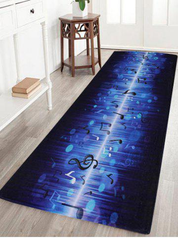 Discount Non-slip Coral Velvet Music Note Floor Rug BLUE W16 INCH * L47 INCH