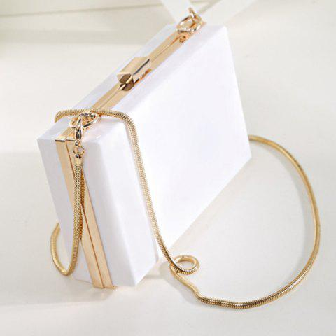Unique Snake Chain Metal Trimmed Evening Bag - WHITE  Mobile