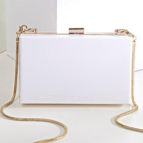 Snake Chain Metal Trimmed Evening Bag Blanc