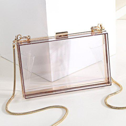 Outfits Snake Chain Metal Trimmed Evening Bag - TRANSPARENT  Mobile