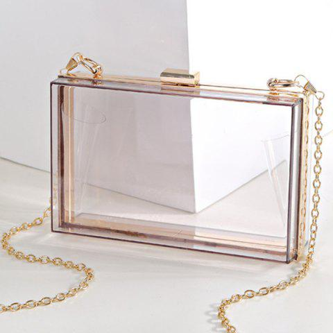 Unique Snake Chain Metal Trimmed Evening Bag - TRANSPARENT  Mobile