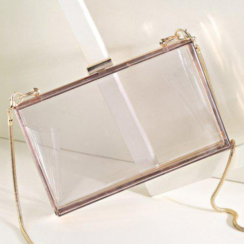 Best Snake Chain Metal Trimmed Evening Bag - TRANSPARENT  Mobile