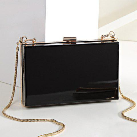 Unique Snake Chain Metal Trimmed Evening Bag BLACK