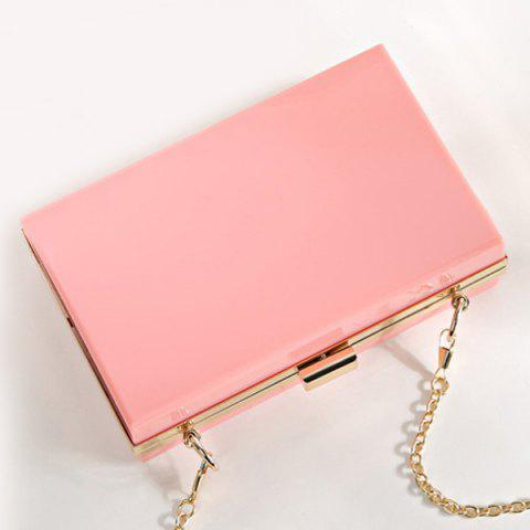 Outfit Snake Chain Metal Trimmed Evening Bag - PINK  Mobile