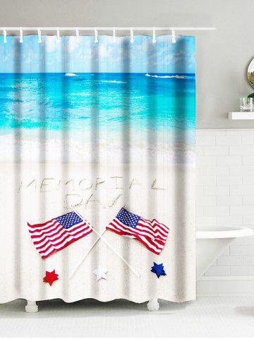 Sea Beach American Flag Memorial Day Waterproof Bath Curtain - Sky Blue - W59 Inch * L71 Inch