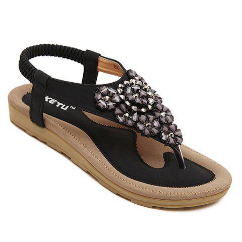 Latest Rhinestone Blossom Thong Sandals - 38 BLACK Mobile