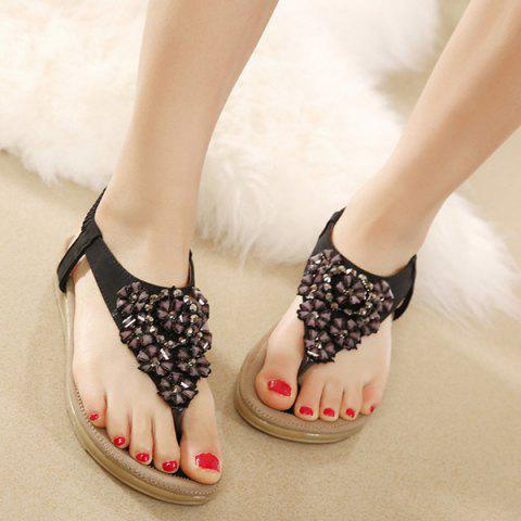 Outfits Rhinestone Blossom Thong Sandals - 38 BLACK Mobile