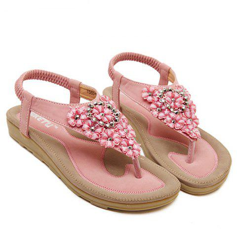 Store Rhinestone Blossom Thong Sandals - 39 PINK Mobile