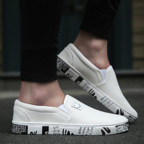 Online Flat Emoji Slip On Canvas Shoes - 43 WHITE Mobile