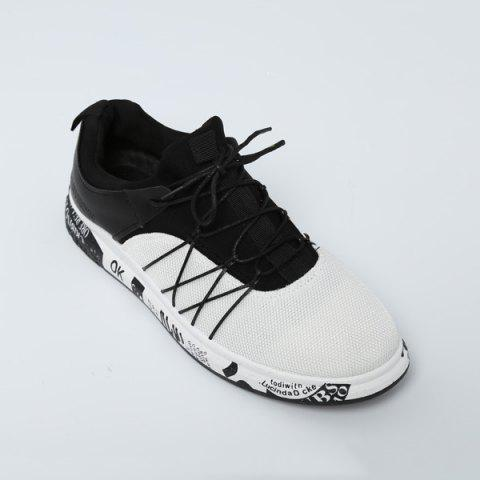 Letter Printed Athletic Mesh Trainers - White - 44