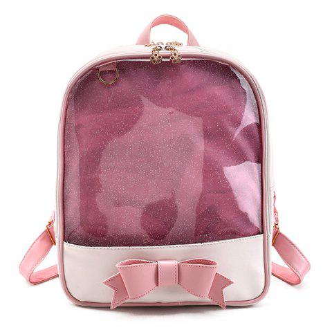 Fashion Bow Jelly Color Block Backpack PINK