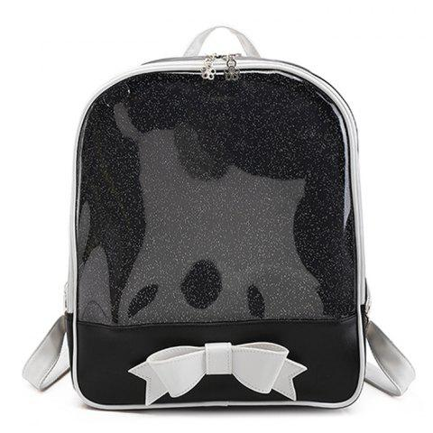 Cheap Bow Jelly Color Block Backpack BLACK
