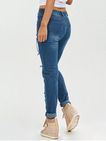 Shops Lace Insert Ripped Skinny Jeans - S DENIM BLUE Mobile