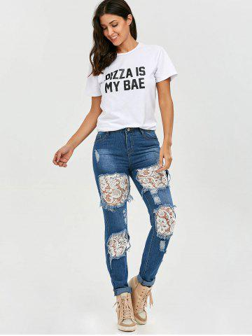 Outfit Lace Insert Ripped Skinny Jeans - S DENIM BLUE Mobile