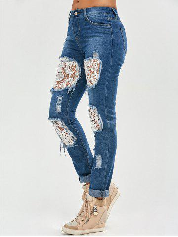 New Lace Insert Ripped Skinny Jeans - S DENIM BLUE Mobile