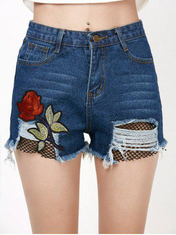 Rose Embroideried Ripped Jean Shorts with Fishnet - DENIM BLUE S
